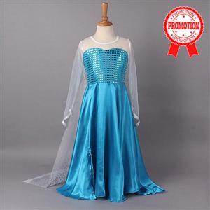 Frozen elsa  long sleeve dress, Long sleeve satin sequins dress, Frozen Princess Elsa Dress, #N8512