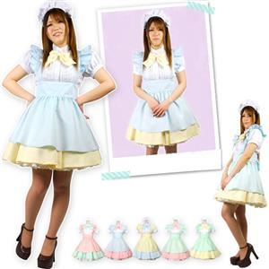 Sexy Lolita Maid Costume, Japonese Maid Costume, Blue, Yellow and White Maid Costume, #M8709