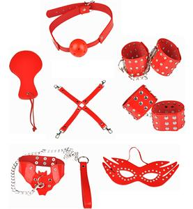 Seven Set Red SM Props, Bedroom Restraint Fun Adult Set, Playtime Set Accessories, #MS8299