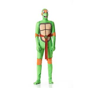 Halloween Funny Costumes, Ninja Cosplay Costume, Green Turtle Cosplay Costume, Turtle Jumpsuit Ninja Halloween Costume, Plus Size Costume, #N18011