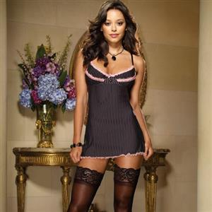 Gangster Stripe Open Back Babydoll N7697