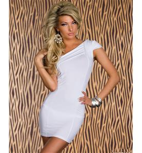 One Shoulder White Dress, Stretchy One Shoulder Dress, Cap Sleeve Gather Top Dress, #N7826
