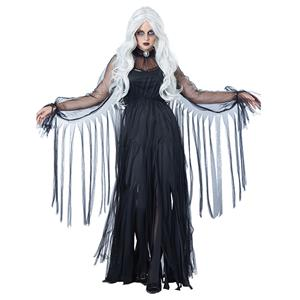 Black Ghost Bride Role Play Costume, Classical Adult Ghost Bride Halloween Costume, Deluxe Ghost Bride Dress Costume, Vampire Bride Masquerade Costume, Ghost Bride Halloween Adult Cosplay Costume, #N18196