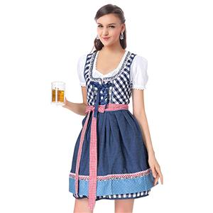Beer Garden Girl Costume, Blue Grid Beer Girl Costume, Blue Beer Garden Costume, Oktoberfest Blue Costume, Blue Grid Oktoberfest Costume#N18242