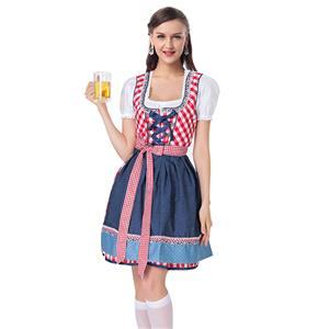 Beer Garden Girl Costume, Red Grid Beer Girl Costume, Red Beer Garden Costume, Oktoberfest Red Costume, Red Grid Oktoberfest Costume#N18243
