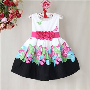 Butterfly Print Pleated Girls Dress, Whirte and Black Floral with Big Bow Dress, Butterfly Pattern Paty Princess Dress, #N9008