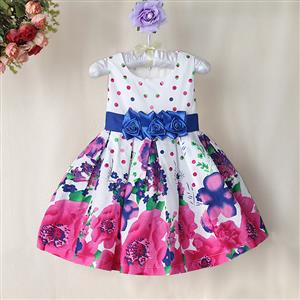 Flower Print Pleated Girls Dress, White Sleeveless Floral with Big Bow Dress, Flower Pattern Paty Princess Dress, #N9010