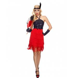Black and Red Fringe Flapper Costume, Black Sequin Halter Flapper Costume, Flapper Fiery Womens Costume, #N9012