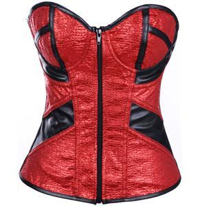 Red Glitter Corset, PU Leather Zipper Corset Red, Glitter Zipper Corset, Christmas Corset, Valentine