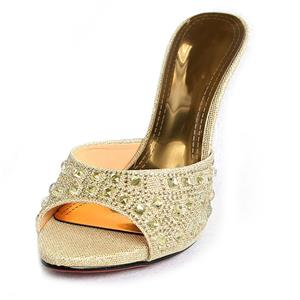 Satin High-heeled Mules, Rhinestone High-heeled Mules, Gold Stiletto Heel Mules, #SWH11079