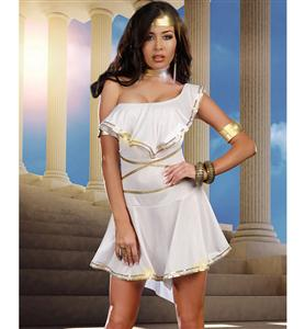 Goddess Shes Hot Costume, White Goddess Costume, White and Gold Goddess Costume, #W5841