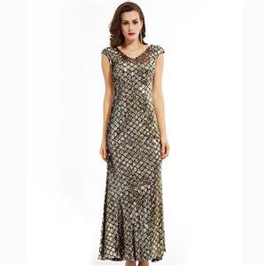 Cap Sleeve V Neck Dress, Gold Sequins Dress, Mermaid Maxi Dress, Gold Sheath Long Dress, Women