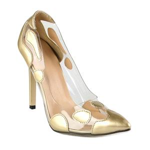 Sexy Gold High-heeled Shoes, Cheap Pointed Toe Shoes, Fashion Irregular Pattern High Heels, Party Lady Shoes, #SWS20327