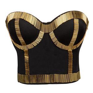 Sexy Bustier Bra, Cheap Gold Bustier Bra, Sexy Crop Top Bra, Crop Top with Underwire Cups, #N11583