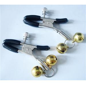Gold Nipple clamps with cowbell, cowbell nipple clamp, Powerful nipple clamp, #MS7163