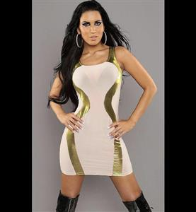 Round Neck Sleeveless Sexy Dress, Off White Tank Dress, See-through Gold Panel Insert Dress, #N8564