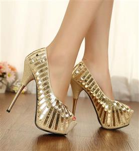 Stunning Gold Sequins Peep Toe Party High-heeled Shoes SWS20338