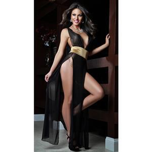 Sexy Diva Chemise, Black Mesh Lingerie Gown, Long Lingerie Gown, #N6704