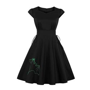 Cute Swing Dress, Retro Bat Embroidery Dresses for Women 1960, Vintage Dresses 1950