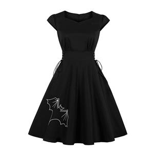 Cute Swing Dress, Retro Bat Embroidery Dresses for Women 1960, Vintage Dresses 1950