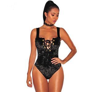 Bodysuit for Women, Sexy Bodysuit, Cheap Romper Lingerie, Lace Up Velvet Lingerie, Black Teddy lingerie for women, Teddy Lingerie Cutout,  #N14506