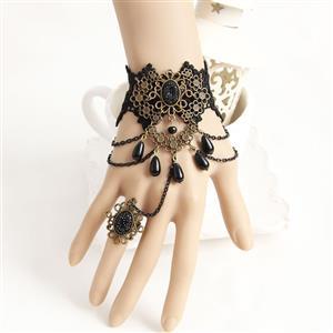 Gothic Bracelet, Gothic Bronze Flowers Bracelet, Cheap Wristband, Gothic Black Bracelet, Victorian Black Lace Bracelet, Retro Black Wristband, Bracelet with Ring, #J18170