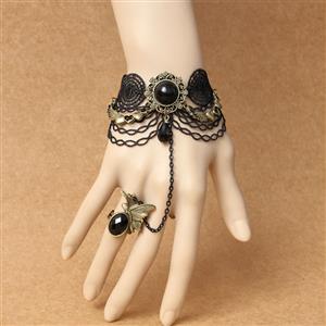 Gothic Bracelet, Gothic Bronze Heart Gem Bracelet, Cheap Wristband, Gothic Black Bracelet, Victorian Black Lace Bracelet, Retro Black Wristband, Bracelet with Ring, #J18171