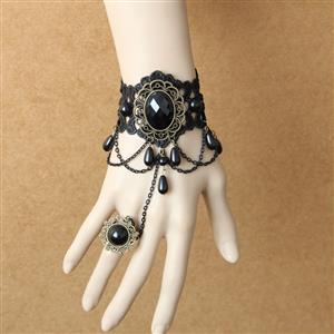 Gothic Bracelet, Gothic Black Gem Bracelet, Cheap Wristband, Gothic Black Bracelet, Victorian Black Lace Bracelet, Retro Black Wristband, Bracelet with Ring, #J18172