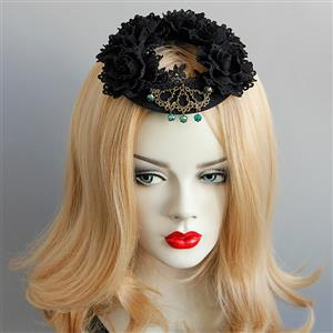 Gothic Hairclip, Cosplay Costume, Cosplay Accessory, Gothic Black Rose Hat, Black Rose Hat, Retro Gothic Ring Hat, #J18809