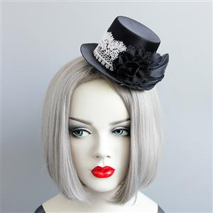 Gothic Hairclip, Cosplay Costume, Cosplay Accessory, Gothic Top Hat, Black Rose Hat, Retro White Lace Black Rose Top Hat Hairclip, #J18811