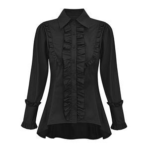 Vintage Black Shirt, Lolita Harajuku Blouse, Long Sleeves Blouse Top, Gothic Harajuku Black Blouse, Victorian Ruffle Blouse, Sexy Tonic, Sexy Black Lolita Pleated Blouse, #N21548