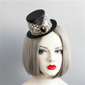 Gothic Hairclip, Cosplay Costume, Cosplay Accessory, Gothic Top Hat, Black Gem Hat, Retro White Lace Top Hat Hairclip, #J18810