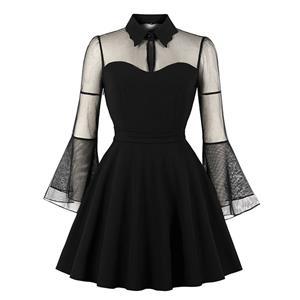 Plus Size Gothic Black See-through Flare Sleeve Halloween Vampire Dress N19420