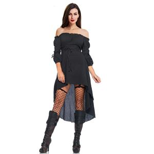 Sexy Gothic Black Ruffled Off-shoulder Vampire High Waist High-low Dress N18685