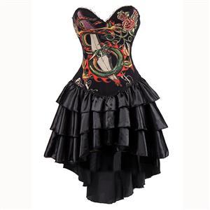 Burlesque Queen Costume, Burlesque Costume, Burlesque Halloween Costume, Black Corset Dress, Burlesque Corset Satin Dance Dresses, Gothic Corset Dress, #N15296