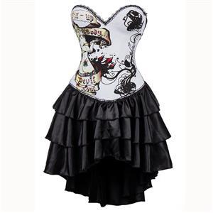 Burlesque Queen Costume, Burlesque Costume, Burlesque Halloween Costume, Black Corset Dress, Burlesque Corset Satin Dance Dresses, Gothic Corset Dress, #N15299