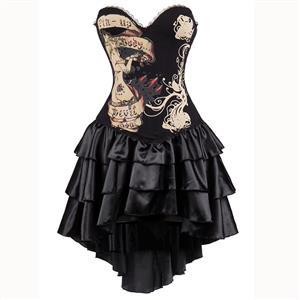 Burlesque Queen Costume, Burlesque Costume, Burlesque Halloween Costume, Black Corset Dress, Burlesque Corset Satin Dance Dresses, Gothic Corset Dress, #N15301