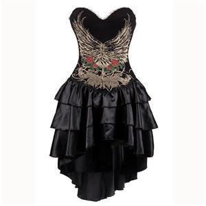 Burlesque Queen Costume, Burlesque Costume, Burlesque Halloween Costume, Black Corset Dress, Burlesque Corset Satin Dance Dresses, Gothic Corset Dress, #N15302