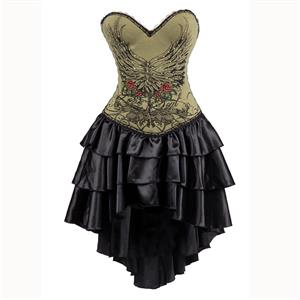 Burlesque Queen Costume, Burlesque Costume, Burlesque Halloween Costume, Black Corset Dress, Burlesque Corset Satin Dance Dresses, Gothic Corset Dress, #N15305