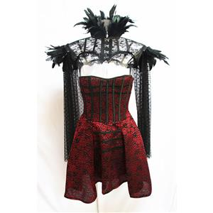 Gothic Vampire Strapless Floral Corset Dress with Feather High Neck Cape Scarf Shrug N19600