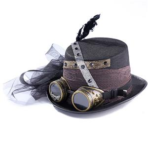 Fancy Vampire Masquerade Party Costume Hat, Steampunk Halloween Cosplay Costume Hat, Retro Fascinator Fancy Ball Top Hat, Vintage Industrial Style Vampire Costume Hat, Fashion Party Costume Hat Accessory, Fancy Victorian Gothic Fascinator, Gothic Style Costume Hat, #J21221