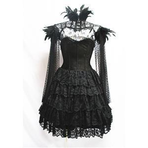 Retro Overbust Corset Skirt Set, Sexy Gothic Black Burlesque Halloween Vampire Corset Skirt Set, Gothic Choker Corset Costume, Gothic Halloween Costume, Steampunk Corset for Women, Steel Boned BodyShaper Corset, Sexy Overbust Corset, #N19604