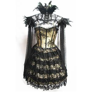Victorian Gothic Strapless Lace Satin Overbust Corset Dress Feather High Neck Cape Shrug N19605