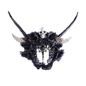Retro Headwear, Gothic Style Black Headwear, Fashion Black Hair Ornament for Women, Vintage Hair Ornament, Casual Headwear , Gothic Black Headwear , Halloween Hair Accessories, #N21210