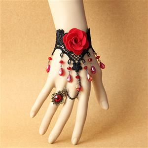 Vintage Lace Bracelet, Gothic Rose Bracelet, Cheap Wristband, Gothic Black Lace Bracelet, Victorian Floral Lace Bracelet, Retro Black Floral Lace Wristband, Bracelet with Ring, #J18168