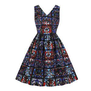 Gothic Style Notre-Dame de Paris Glass Printing Low-cut Sleeveless High Waist Midi Dress N19064