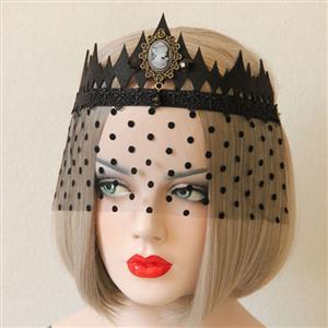Halloween Masks, Costume Ball Masks, Black Lace Mask, Masquerade Party Mask, Punk Black Mask, Cosplay Face Veil, #MS13027