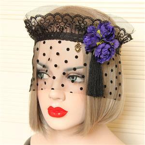 Halloween Masks, Costume Ball Masks, Black Lace Mask, Masquerade Party Mask, Punk Black Mask, Cosplay Face Veil, #MS13028