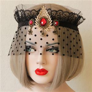 Halloween Masks, Costume Ball Masks, Black Lace Mask, Masquerade Party Mask, Punk Black Mask, Cosplay Face Veil, #MS13029
