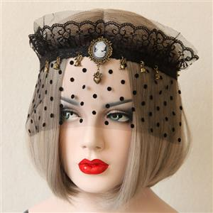 Halloween Masks, Costume Ball Masks, Black Lace Mask, Masquerade Party Mask, Punk Black Mask, Cosplay Face Veil, #MS13030